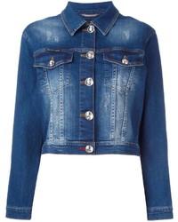 Veste en jean ornée bleu marine Philipp Plein