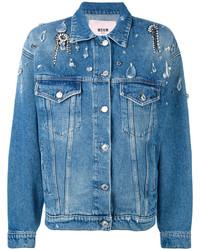 Veste en jean ornée bleue MSGM