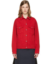 Veste en jean rouge MSGM