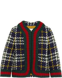 Veste en laine écossaise verte foncée Gucci