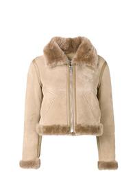 Veste en peau de mouton retournée beige Balenciaga