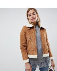 Veste en peau de mouton retournée brune claire Vero Moda Petite