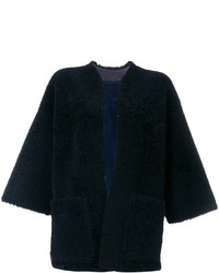 Veste en peau de mouton retournée en cuir bleu marine Maison Margiela