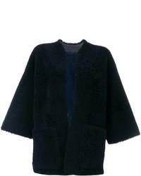 Veste en peau de mouton retournée en cuir bleue marine Maison Margiela