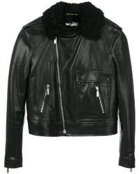 Veste en peau de mouton retournée en cuir noire Saint Laurent