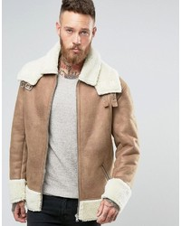 Veste en peau de mouton retournée marron clair Asos