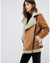 Veste en peau de mouton retournée marron clair Vero Moda