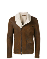 Veste en peau de mouton retournée marron Desa Collection