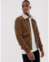 Veste en peau de mouton retournée marron Pull&Bear