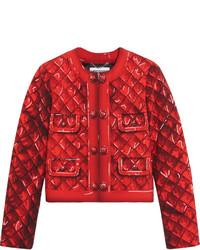 Veste en satin imprimée rouge Moschino