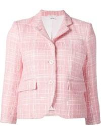 Veste en tweed à carreaux rose Thom Browne