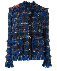 Veste en tweed à franges bleu marine MSGM