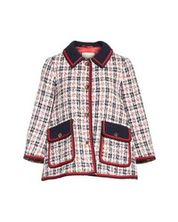 Veste en tweed blanc et rouge et bleu marine