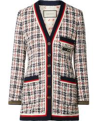 Veste en tweed blanc et rouge et bleu marine Gucci
