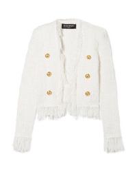 Veste en tweed blanche Balmain