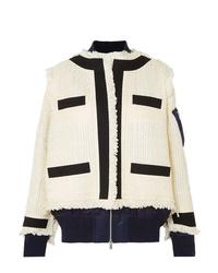 Veste en tweed blanche Sacai