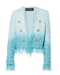 Veste en tweed bleu clair Balmain