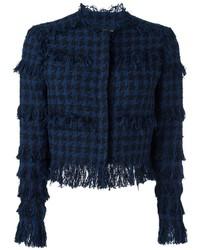 Veste en tweed bleu marine MSGM
