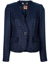 Veste en tweed bleu marine Tory Burch