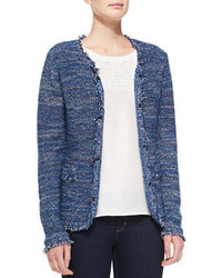 Veste en tweed bleue