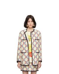 Veste en tweed brodée blanche Gucci