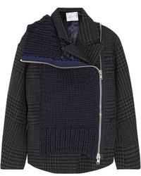 Veste en tweed en pied-de-poule gris foncé Sacai