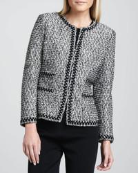 Veste en tweed noire et blanche