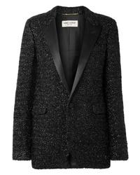 Veste en tweed noire Saint Laurent