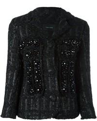 Veste en tweed ornée noire Simone Rocha