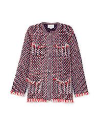 Veste en tweed ornée rouge Gucci