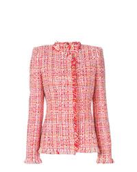 Veste en tweed rouge Alexander McQueen
