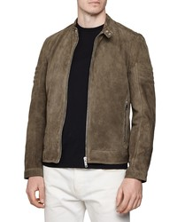 Veste harrington en daim marron foncé
