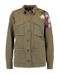 Veste militaire à fleurs olive Topshop