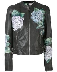 Veste motard à fleurs gris foncé Dolce & Gabbana