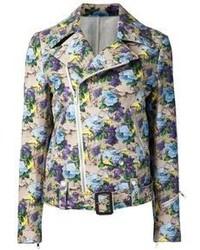 Veste motard à fleurs multicolore