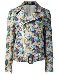 Veste motard à fleurs multicolore MSGM