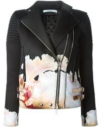 Veste motard à fleurs noire et blanche Givenchy