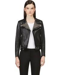 Veste motard en cuir à clous noire Saint Laurent