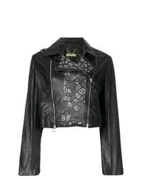 Veste motard en cuir à clous noire Versace Jeans