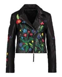 Veste motard en cuir à fleurs noire Be Edgy