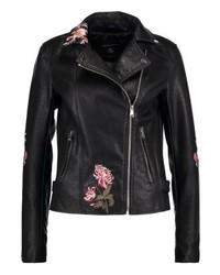 Veste motard en cuir à fleurs noire Dorothy Perkins
