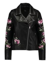 Veste motard en cuir à fleurs noire Even&Odd