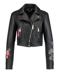 Veste motard en cuir à fleurs noire GUESS