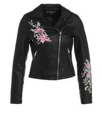 Veste motard en cuir à fleurs noire Miss Selfridge
