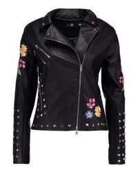 Veste motard en cuir à fleurs noire Missguided