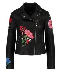 Veste motard en cuir à fleurs noire New Look