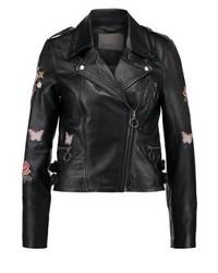 Veste motard en cuir à fleurs noire Vero Moda