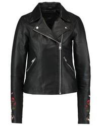 Veste motard en cuir à fleurs noire YAS Tall