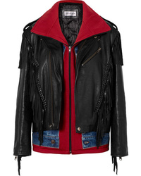 Veste motard en cuir à franges noire Balenciaga