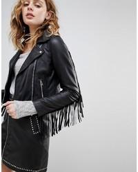 Veste motard en cuir à franges noire Goosecraft
